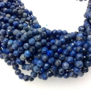 """Shop Dumortierite Beads! 4mm Faceted Natural Mixed Blue Dumortierite Round/Ball Shaped Beads with 1mm Holes – Sold by 15.5"""" Strands (Approx. 103 Beads) 