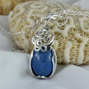 Shop Dumortierite Necklaces! Dumortierite Necklace –  Small Blue Stone Necklace –  Dumortierite Silver Pendant – Wire Wrap – Blue Crystal – Dumortierite Jewellery – Blue | Natural genuine Dumortierite necklaces. Buy crystal jewelry, handmade handcrafted artisan jewelry for women.  Unique handmade gift ideas. #jewelry #beadednecklaces #beadedjewelry #gift #shopping #handmadejewelry #fashion #style #product #necklaces #affiliate #ad