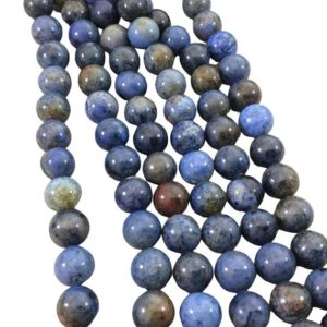 """Shop Dumortierite Beads! 10mm Glossy Finish Natural Mixed Blue Dumortierite Round/Ball Shaped Beads with 1mm Holes – Sold by 15"""" Strands (Approx. 39 Beads) 