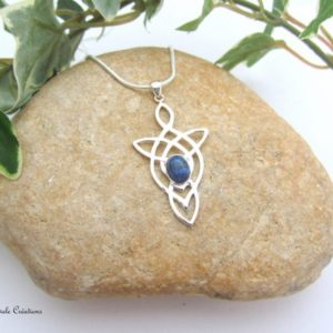 Shop Dumortierite Necklaces! Dumortirite celtic necklace, blue stone, sterling silver, healing emotional stability, man woman, handmade | Natural genuine Dumortierite necklaces. Buy crystal jewelry, handmade handcrafted artisan jewelry for women.  Unique handmade gift ideas. #jewelry #beadednecklaces #beadedjewelry #gift #shopping #handmadejewelry #fashion #style #product #necklaces #affiliate #ad