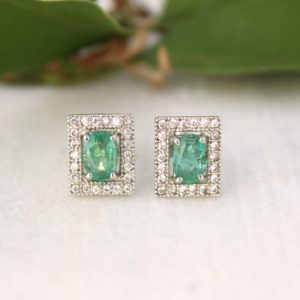 Shop Emerald Earrings! Natural Emerald Earrings-Natural Emerald vintage Stud-Emerald Art Deco Earrings-Emerald Cluster Rectangle Stud-May Birthstone-Natural gemstn   Natural genuine Emerald earrings. Buy crystal jewelry, handmade handcrafted artisan jewelry for women.  Unique handmade gift ideas. #jewelry #beadedearrings #beadedjewelry #gift #shopping #handmadejewelry #fashion #style #product #earrings #affiliate #ad