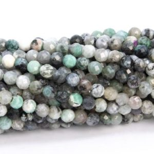 """Shop Emerald Faceted Beads! 3MM Emerald Beads Gray Green Grade AB Genuine Natural Gemstone Full Strand Faceted Round Loose Beads 16"""" Bulk Lot Options (113257-3672) 