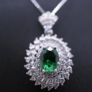 Shop Emerald Pendants! Multi Diamond Halo Emerald Necklace White Gold Plated Sterling Silver 1.5 CT Green Emerald Pendant | Natural genuine Emerald pendants. Buy crystal jewelry, handmade handcrafted artisan jewelry for women.  Unique handmade gift ideas. #jewelry #beadedpendants #beadedjewelry #gift #shopping #handmadejewelry #fashion #style #product #pendants #affiliate #ad