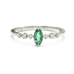 18K White Gold Emerald Ring Diamond ring, Emerald stacking ring , Minimalist Ring,tiny Ring,18K White Gold,Engagement ring,Women gift ring | Natural genuine Array rings, simple unique alternative gemstone engagement rings. #rings #jewelry #bridal #wedding #jewelryaccessories #engagementrings #weddingideas #affiliate #ad