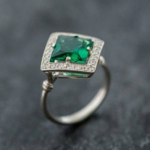 Emerald Ring, Emerald Engagement Ring, Created Emerald, Vintage Emerald Ring, Vintage Ring, Antique Emerald Ring, Antique Rings, Silver Ring | Natural genuine Emerald rings, simple unique alternative gemstone engagement rings. #rings #jewelry #bridal #wedding #jewelryaccessories #engagementrings #weddingideas #affiliate #ad