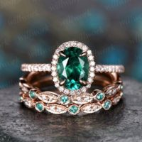 Only The Emerald Engagement Ring 14k Rose Gold 1pc Emerald Ring Vintage Real Diamond Ring Unique Halo May Birthstone Promise Wedding Ring | Natural genuine Gemstone jewelry. Buy handcrafted artisan wedding jewelry.  Unique handmade bridal jewelry gift ideas. #jewelry #beadedjewelry #gift #crystaljewelry #shopping #handmadejewelry #wedding #bridal #jewelry #affiliate #ad