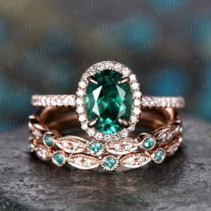 ONLY the emerald engagement ring 14k rose gold 1PC emerald ring vintage real diamond ring unique halo may birthstone promise wedding ring | Natural genuine Gemstone rings, simple unique alternative gemstone engagement rings. #rings #jewelry #bridal #wedding #jewelryaccessories #engagementrings #weddingideas #affiliate #ad