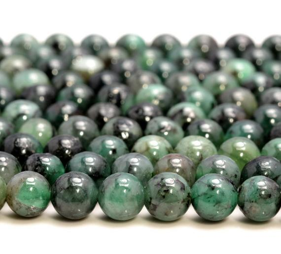 Genuine 100% Natural Columbia Emerald Gemstone Rare Precious Green Grade Aa 3mm 4mm 5mm 6mm 8mm Round Loose Beads (a244)