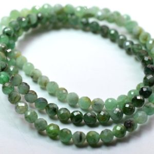 "Shop Emerald Round Beads! Emerald Round Shape Faceted Beads 4.MM Approx 16""Inches Natural Top Quality Wholesaler Price. 