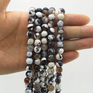 4 6 8 10 12 14MM  Black White Agate Beads,Round Fire Agate Beads,Agate Gemstone Beads, Jewelry Making–15inches–EBT216 | Natural genuine round Gemstone beads for beading and jewelry making.  #jewelry #beads #beadedjewelry #diyjewelry #jewelrymaking #beadstore #beading #affiliate #ad