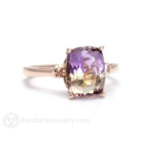 Fleur de Lis Ametrine Ring Cushion Cut Gemstone Ring in 14K or 18K White Yellow Rose Gold Purple Yellow Gemstone Ring | Natural genuine Array jewelry. Buy crystal jewelry, handmade handcrafted artisan jewelry for women.  Unique handmade gift ideas. #jewelry #beadedjewelry #beadedjewelry #gift #shopping #handmadejewelry #fashion #style #product #jewelry #affiliate #ad