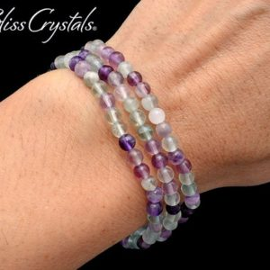 Shop Fluorite Bracelets! 1 FLUORITE 4 mm Beaded Stretch Bracelet Healing Crystal and Stone #FB01 | Natural genuine Fluorite bracelets. Buy crystal jewelry, handmade handcrafted artisan jewelry for women.  Unique handmade gift ideas. #jewelry #beadedbracelets #beadedjewelry #gift #shopping #handmadejewelry #fashion #style #product #bracelets #affiliate #ad