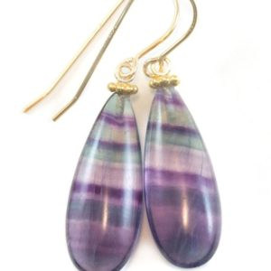 Shop Fluorite Earrings! Fluorite Earrings Purple Teal Blue Striped Smooth Teardrop 14k solid gold or gold filled or sterling silver Natural Large Pair Beaded Simple | Natural genuine Fluorite earrings. Buy crystal jewelry, handmade handcrafted artisan jewelry for women.  Unique handmade gift ideas. #jewelry #beadedearrings #beadedjewelry #gift #shopping #handmadejewelry #fashion #style #product #earrings #affiliate #ad