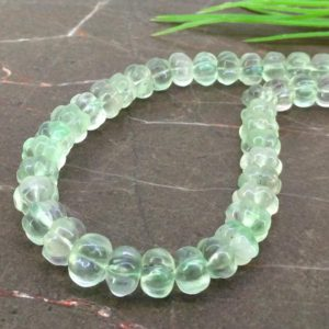 Natural Green Flourite 7-10mm Carved Melon Shape Gemstone Beads / Approx. 69 Pieces on 16 Inch Long Strand / JBC-ET-157173 | Natural genuine other-shape Gemstone beads for beading and jewelry making.  #jewelry #beads #beadedjewelry #diyjewelry #jewelrymaking #beadstore #beading #affiliate #ad