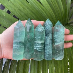 Green Fluorite Tower, High Quality Green Fluorite Wand, Green Fluorite Point, Polished Green Fluorite Crystal, Large Green Fluorite | Natural genuine stones & crystals in various shapes & sizes. Buy raw cut, tumbled, or polished gemstones for making jewelry or crystal healing energy vibration raising reiki stones. #crystals #gemstones #crystalhealing #crystalsandgemstones #energyhealing #affiliate #ad