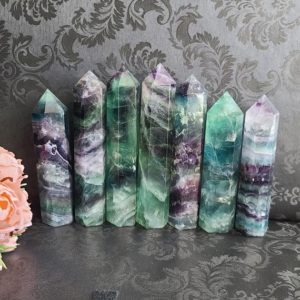 Shop Fluorite Stones & Crystals! Fluorite Tower, Choose Your Large Rainbow Crystal Wand Point Obelisk For Decor Or Crystal Grids | Natural genuine stones & crystals in various shapes & sizes. Buy raw cut, tumbled, or polished gemstones for making jewelry or crystal healing energy vibration raising reiki stones. #crystals #gemstones #crystalhealing #crystalsandgemstones #energyhealing #affiliate #ad