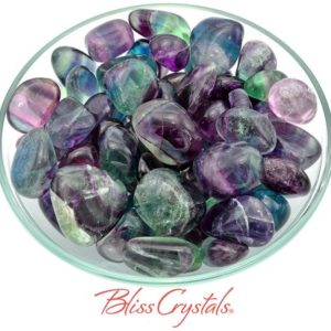 1 FLUORITE Tumbled Stone, You Choose Size, Rainbow Crystal for Focus #FT04 | Natural genuine stones & crystals in various shapes & sizes. Buy raw cut, tumbled, or polished gemstones for making jewelry or crystal healing energy vibration raising reiki stones. #crystals #gemstones #crystalhealing #crystalsandgemstones #energyhealing #affiliate #ad