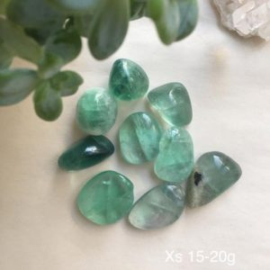 Shop Tumbled Fluorite Crystals & Pocket Stones! ONE Green Fluorite Tumbled Stone, Tumbled Green Fluorite, Green Fluorite | Natural genuine stones & crystals in various shapes & sizes. Buy raw cut, tumbled, or polished gemstones for making jewelry or crystal healing energy vibration raising reiki stones. #crystals #gemstones #crystalhealing #crystalsandgemstones #energyhealing #affiliate #ad