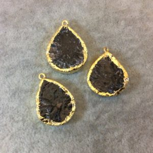 Shop Garnet Chip & Nugget Beads! Gold Finish Assorted Teardrop/Oval Electroformed Raw Garnet Focal Pendant – Measuring 20mm x 28mm, Approximately – Sold Individually, Random | Natural genuine chip Garnet beads for beading and jewelry making.  #jewelry #beads #beadedjewelry #diyjewelry #jewelrymaking #beadstore #beading #affiliate #ad
