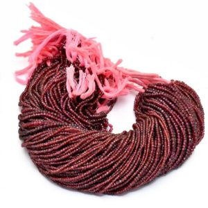 Shop Garnet Faceted Beads! Rhodolite Garnet Rondelle Beads | 3mm-4mm Faceted Beads 13inch Strand | Natural Garnet Semiprecious Gemstone Beads String for Jewelry Making | Natural genuine faceted Garnet beads for beading and jewelry making.  #jewelry #beads #beadedjewelry #diyjewelry #jewelrymaking #beadstore #beading #affiliate #ad