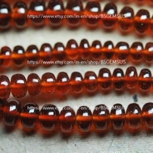Shop Garnet Rondelle Beads! 13 Inches Strand,Natural Hessonite GARNET Smooth Rondelles. Size 4-6mm | Natural genuine rondelle Garnet beads for beading and jewelry making.  #jewelry #beads #beadedjewelry #diyjewelry #jewelrymaking #beadstore #beading #affiliate #ad