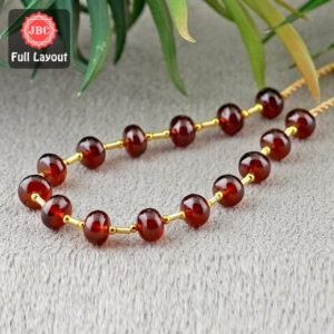 Shop Garnet Rondelle Beads! Natural Hessonite Garnet 8.5-9.5mm Smooth Rondelle Shape Gemstone Beads / Approx. 17 Pieces On 1 Layout Of 1 Strands(s) / Jbc-et-156737 | Natural genuine rondelle Garnet beads for beading and jewelry making.  #jewelry #beads #beadedjewelry #diyjewelry #jewelrymaking #beadstore #beading #affiliate #ad