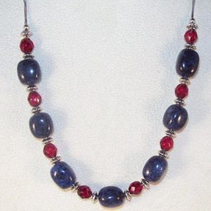 Shop Dumortierite Necklaces! Gemstone and Czech Crystal Jewelry – Dumortierite and Ruby Crystals Necklace | Natural genuine Dumortierite necklaces. Buy crystal jewelry, handmade handcrafted artisan jewelry for women.  Unique handmade gift ideas. #jewelry #beadednecklaces #beadedjewelry #gift #shopping #handmadejewelry #fashion #style #product #necklaces #affiliate #ad