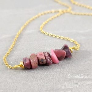 Shop Rhodonite Necklaces! Gemstone Necklace, Raw Rhodonite Necklace, Beaded Bar Necklace, Layering Necklace, Healing Necklace, Gift for Her, Bridesmaid Gift | Natural genuine Rhodonite necklaces. Buy crystal jewelry, handmade handcrafted artisan jewelry for women.  Unique handmade gift ideas. #jewelry #beadednecklaces #beadedjewelry #gift #shopping #handmadejewelry #fashion #style #product #necklaces #affiliate #ad