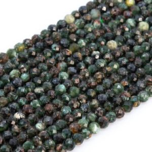 Shop Seraphinite Beads! Genuine Natural Forest Green Seraphinite Loose Beads Faceted Round Shape 3mm | Natural genuine faceted Seraphinite beads for beading and jewelry making.  #jewelry #beads #beadedjewelry #diyjewelry #jewelrymaking #beadstore #beading #affiliate #ad
