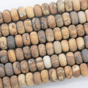 Shop Picture Jasper Rondelle Beads! Genuine Natural Matte Brown Picture Jasper Loose Beads Rondelle Shape 10x6MM | Natural genuine rondelle Picture Jasper beads for beading and jewelry making.  #jewelry #beads #beadedjewelry #diyjewelry #jewelrymaking #beadstore #beading #affiliate #ad