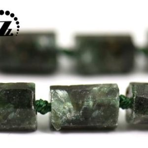 "Genuine Seraphinite faceted Rough Nugget Tube bead,raw nugget,Irregular bead,Genuine,natural,gemstone,8-10mm,15"" full strand 