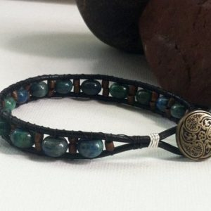 Shop Azurite Bracelets! Gifts for men, leather bracelet, Mens Azurite bracelet, boyfriend gift, husband gift, men's gifts, gifts for him, mens beaded bracelet | Natural genuine Azurite bracelets. Buy handcrafted artisan men's jewelry, gifts for men.  Unique handmade mens fashion accessories. #jewelry #beadedbracelets #beadedjewelry #shopping #gift #handmadejewelry #bracelets #affiliate #ad
