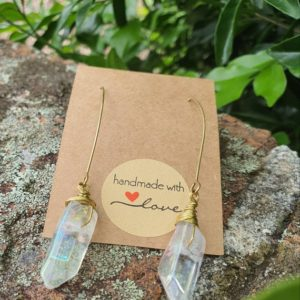 Shop Angel Aura Quartz Earrings! Gold Angel aura threader earrings, Angel Aura Quartz earrings, Aura Quartz Jewelry | Natural genuine Angel Aura Quartz earrings. Buy crystal jewelry, handmade handcrafted artisan jewelry for women.  Unique handmade gift ideas. #jewelry #beadedearrings #beadedjewelry #gift #shopping #handmadejewelry #fashion #style #product #earrings #affiliate #ad