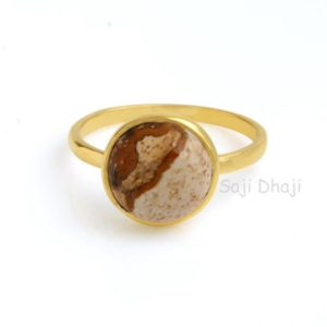 Shop Picture Jasper Rings! Gold ring, Picture Jasper ring, Sterling Silver ring, Gemstone ring, 10mm Round shape Picture Jasper gemstone ring,Engagement ring for her | Natural genuine Picture Jasper rings, simple unique alternative gemstone engagement rings. #rings #jewelry #bridal #wedding #jewelryaccessories #engagementrings #weddingideas #affiliate #ad