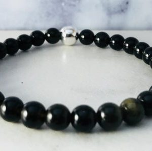 Shop Golden Obsidian Bracelets! Golden Obsidian Bracelet, Valentines Gift Jewelry, Black Gemstone Beaded Bracelet, Spiritual Gift for Women, Black Jewelry for Men | Natural genuine Golden Obsidian bracelets. Buy handcrafted artisan men's jewelry, gifts for men.  Unique handmade mens fashion accessories. #jewelry #beadedbracelets #beadedjewelry #shopping #gift #handmadejewelry #bracelets #affiliate #ad