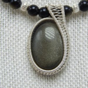 Shop Golden Obsidian Necklaces! Golden Obsidian Necklace with wire-wrapped Cabochon – Sterling Silver | Natural genuine Golden Obsidian necklaces. Buy crystal jewelry, handmade handcrafted artisan jewelry for women.  Unique handmade gift ideas. #jewelry #beadednecklaces #beadedjewelry #gift #shopping #handmadejewelry #fashion #style #product #necklaces #affiliate #ad
