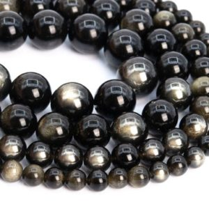 Genuine Natural Golden Obsidian Loose Beads Round Shape 6mm 8mm 10mm | Natural genuine round Golden Obsidian beads for beading and jewelry making.  #jewelry #beads #beadedjewelry #diyjewelry #jewelrymaking #beadstore #beading #affiliate #ad
