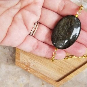 Shop Golden Obsidian Necklaces! Golden Sheen Obsidian Pendant Necklace, Obsidian Necklace, Gemstone Necklace | Natural genuine Golden Obsidian necklaces. Buy crystal jewelry, handmade handcrafted artisan jewelry for women.  Unique handmade gift ideas. #jewelry #beadednecklaces #beadedjewelry #gift #shopping #handmadejewelry #fashion #style #product #necklaces #affiliate #ad