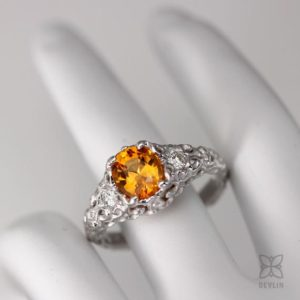 Shop Yellow Sapphire Rings! Golden Yellow  Sapphire ring,14k white gold, diamond accents, scroll details, hand sculpted design   Natural genuine Yellow Sapphire rings, simple unique handcrafted gemstone rings. #rings #jewelry #shopping #gift #handmade #fashion #style #affiliate #ad
