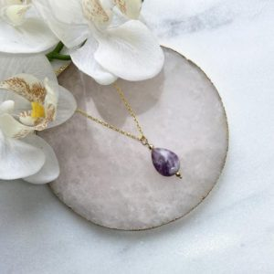 Shop Lepidolite Necklaces! Gorgeous Lepidolite necklace , 18k gold vermeil necklace, Lepidolite necklace, Gemstone necklace, Chakra necklace, Gift for her | Natural genuine Lepidolite necklaces. Buy crystal jewelry, handmade handcrafted artisan jewelry for women.  Unique handmade gift ideas. #jewelry #beadednecklaces #beadedjewelry #gift #shopping #handmadejewelry #fashion #style #product #necklaces #affiliate #ad