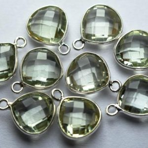 Shop Green Amethyst Beads! 925 Sterling Silver,Natural Green Amethyst Faceted Heart Shape Connector,5 Piece Of  14mm App. | Natural genuine faceted Green Amethyst beads for beading and jewelry making.  #jewelry #beads #beadedjewelry #diyjewelry #jewelrymaking #beadstore #beading #affiliate #ad