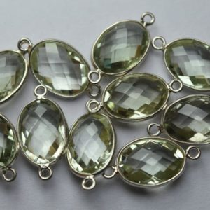 Shop Green Amethyst Beads! 925 Sterling Silver,Natural Green Amethyst Faceted Oval Shape Connector,5 Piece Of  21mm App. | Natural genuine faceted Green Amethyst beads for beading and jewelry making.  #jewelry #beads #beadedjewelry #diyjewelry #jewelrymaking #beadstore #beading #affiliate #ad