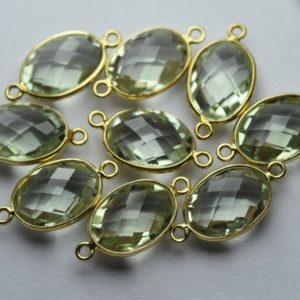 Shop Green Amethyst Beads! 925 Sterling Vermeil Silver,Natural Green Amethyst Faceted Oval Shape Connector,5 Piece Of  21mm App. | Natural genuine faceted Green Amethyst beads for beading and jewelry making.  #jewelry #beads #beadedjewelry #diyjewelry #jewelrymaking #beadstore #beading #affiliate #ad