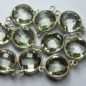 Shop Green Amethyst Beads! 925 Sterling Silver,Natural Green Amethyst Faceted Coins Shape Connector,2 Piece Of  21mm App. | Natural genuine faceted Green Amethyst beads for beading and jewelry making.  #jewelry #beads #beadedjewelry #diyjewelry #jewelrymaking #beadstore #beading #affiliate #ad