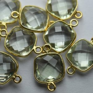 Shop Green Amethyst Beads! 925 Sterling Vermeil Silver,Natural Green Amethyst Faceted Cushion Shape Connector,3 Piece Of  17mm App. | Natural genuine faceted Green Amethyst beads for beading and jewelry making.  #jewelry #beads #beadedjewelry #diyjewelry #jewelrymaking #beadstore #beading #affiliate #ad