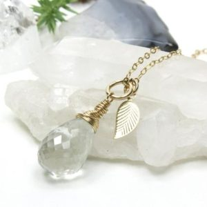Shop Green Amethyst Pendants! Green Amethyst Gold Filled Necklace natural gemstone dainty drop pendant leaf charm birthday anniversary Christmas gift for her women 5232 | Natural genuine Green Amethyst pendants. Buy crystal jewelry, handmade handcrafted artisan jewelry for women.  Unique handmade gift ideas. #jewelry #beadedpendants #beadedjewelry #gift #shopping #handmadejewelry #fashion #style #product #pendants #affiliate #ad
