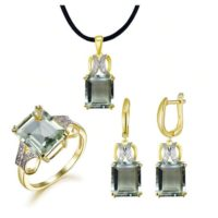 Green Amethyst Jewelry Set, green Amethyst Ring, green Amethyst Pendant, green Amethyst Earring, gold Plated Jewelry, gift For Women, jewelry Set | Natural genuine Gemstone jewelry. Buy crystal jewelry, handmade handcrafted artisan jewelry for women.  Unique handmade gift ideas. #jewelry #beadedjewelry #beadedjewelry #gift #shopping #handmadejewelry #fashion #style #product #jewelry #affiliate #ad