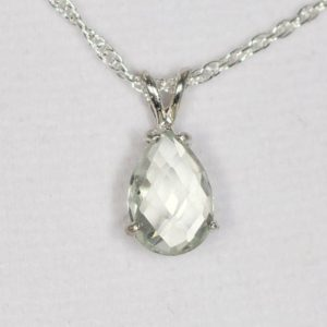Shop Green Amethyst Pendants! Prasiolite Pendant, Green Amethyst Pendant, Green Necklace, Pear Shaped 10x7mm Genuine Gem, Set in 925 Sterling Silver,  With 18inch Chain | Natural genuine Green Amethyst pendants. Buy crystal jewelry, handmade handcrafted artisan jewelry for women.  Unique handmade gift ideas. #jewelry #beadedpendants #beadedjewelry #gift #shopping #handmadejewelry #fashion #style #product #pendants #affiliate #ad
