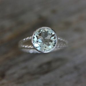 Shop Green Amethyst Rings! Green Amethyst Gemstone and Recycled Sterling Ring, Sage Green Rope Split Shank Design, Rapunzel | Natural genuine Green Amethyst rings, simple unique handcrafted gemstone rings. #rings #jewelry #shopping #gift #handmade #fashion #style #affiliate #ad