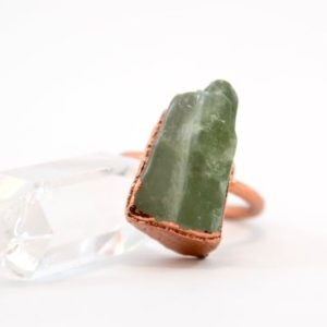 Shop Calcite Rings! Green Calcite Copper Ring | Copper Calcite Ring | Raw Stone Ring | Green Calcite | Natural genuine Calcite rings, simple unique handcrafted gemstone rings. #rings #jewelry #shopping #gift #handmade #fashion #style #affiliate #ad